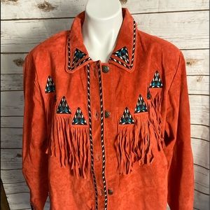 Bob Mackie red leather fringe jacket XL